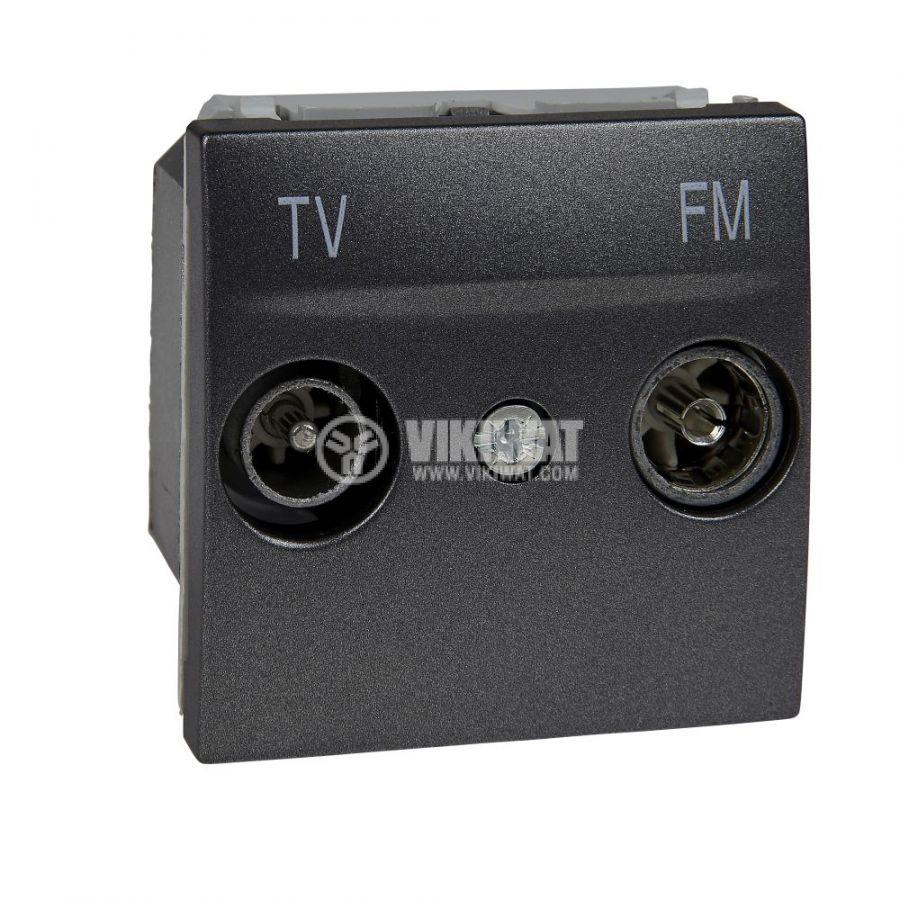 Розетка двойна, TV, радио, за вграждане, цвят графит, MGU3.451.12