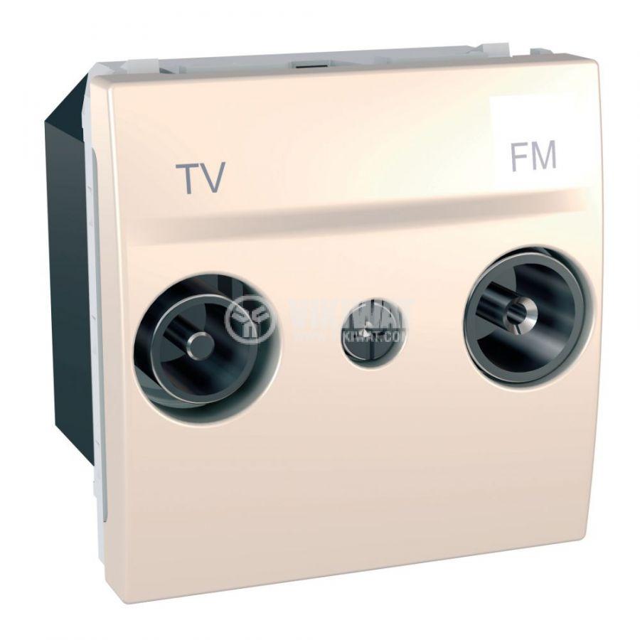 Розетка двойна, TV, радио, за вграждане, цвят слонова кост, MGU3.451.25