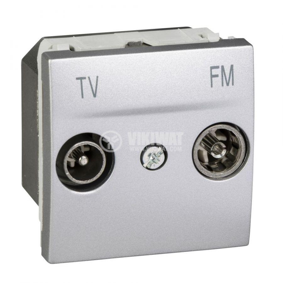 Розетка двойна, TV, радио, за вграждане, цвят сребрист, MGU3.451.30