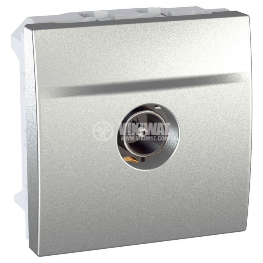 Розетка единична, SAT, за вграждане, цвят сребрист, MGU3.462.30