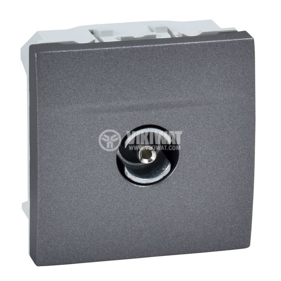 Розетка единична, TV, за вграждане, цвят графит, MGU3.465.12