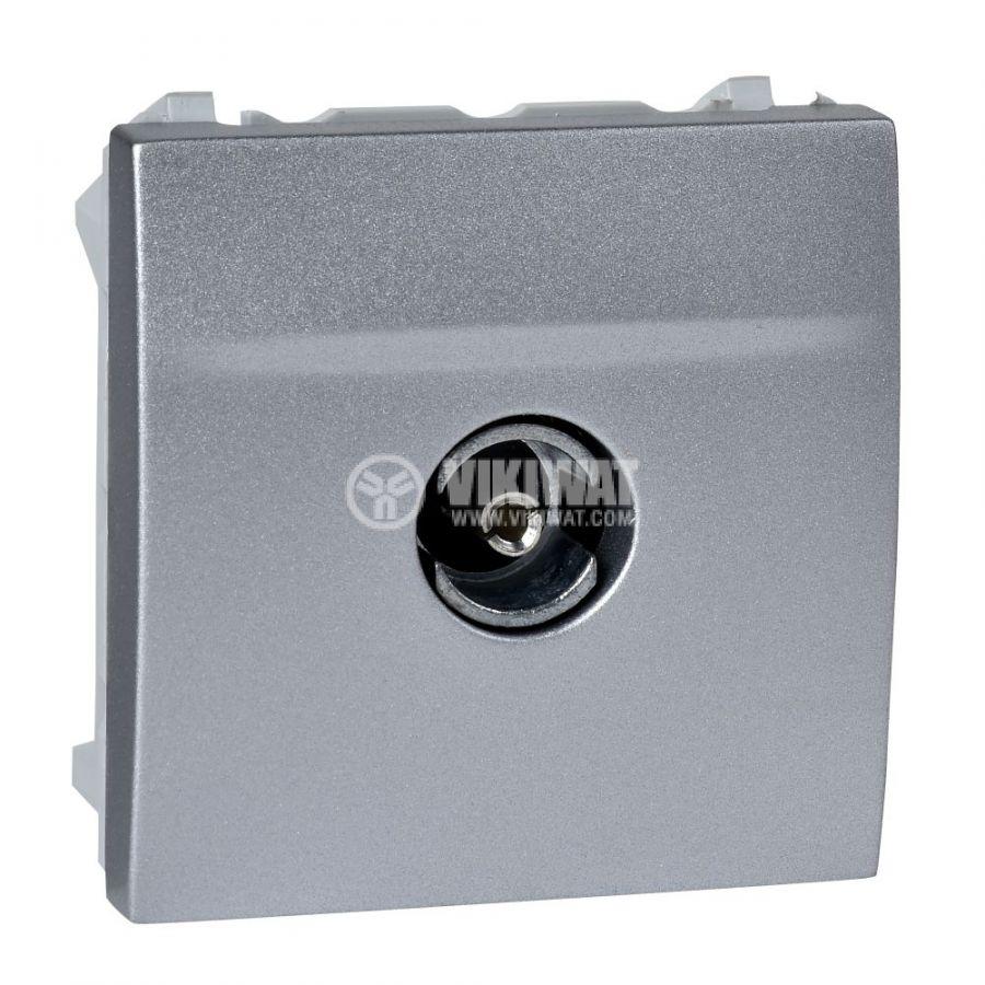 Розетка единична, TV, за вграждане, цвят сребрист, MGU3.465.30