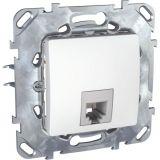 Розетка единична, RJ11(4p4c), за вграждане, цвят бял, MGU50.492.18Z