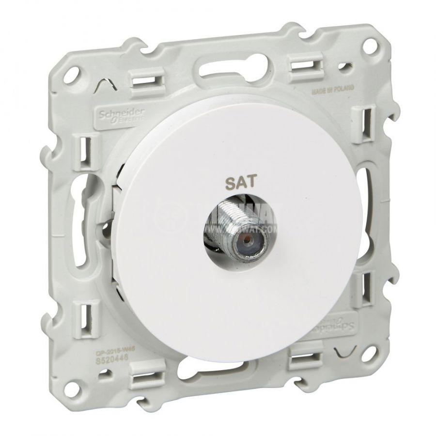Розетка за телевизор, единична, F конектор, за вграждане, бял, S520446