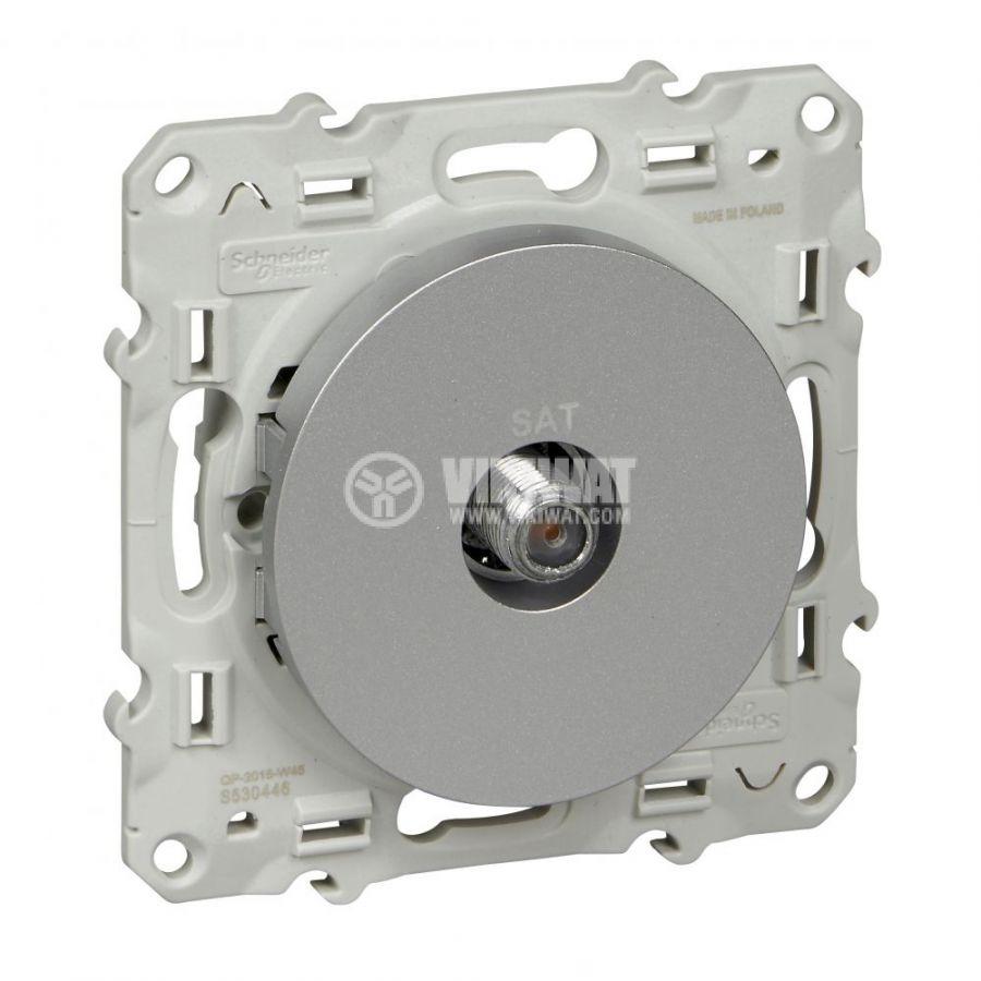 Розетка за телевизор, единична, F конектор, за вграждане, сребрист, S530446
