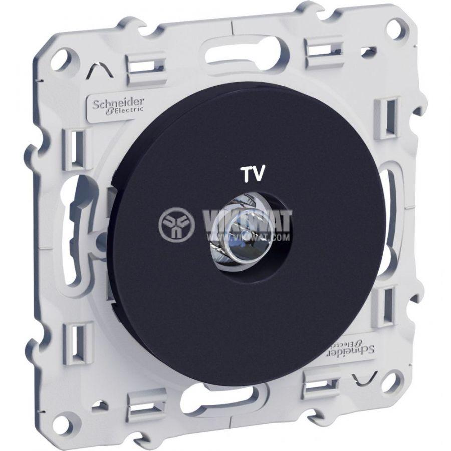 Розетка за телевизор, единична, TV, за вграждане, черен, S540445