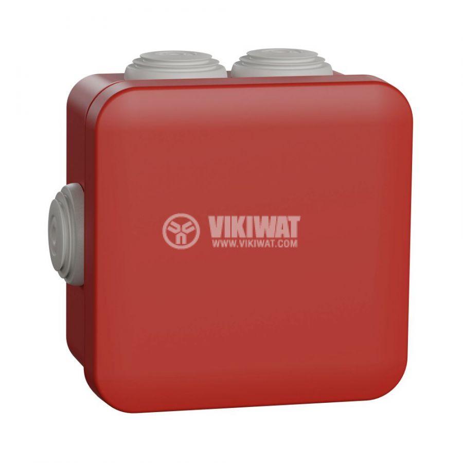 Кутия разклонителна, 98x98x51mm, повърхностен, полипропилен, червен, ENN05164