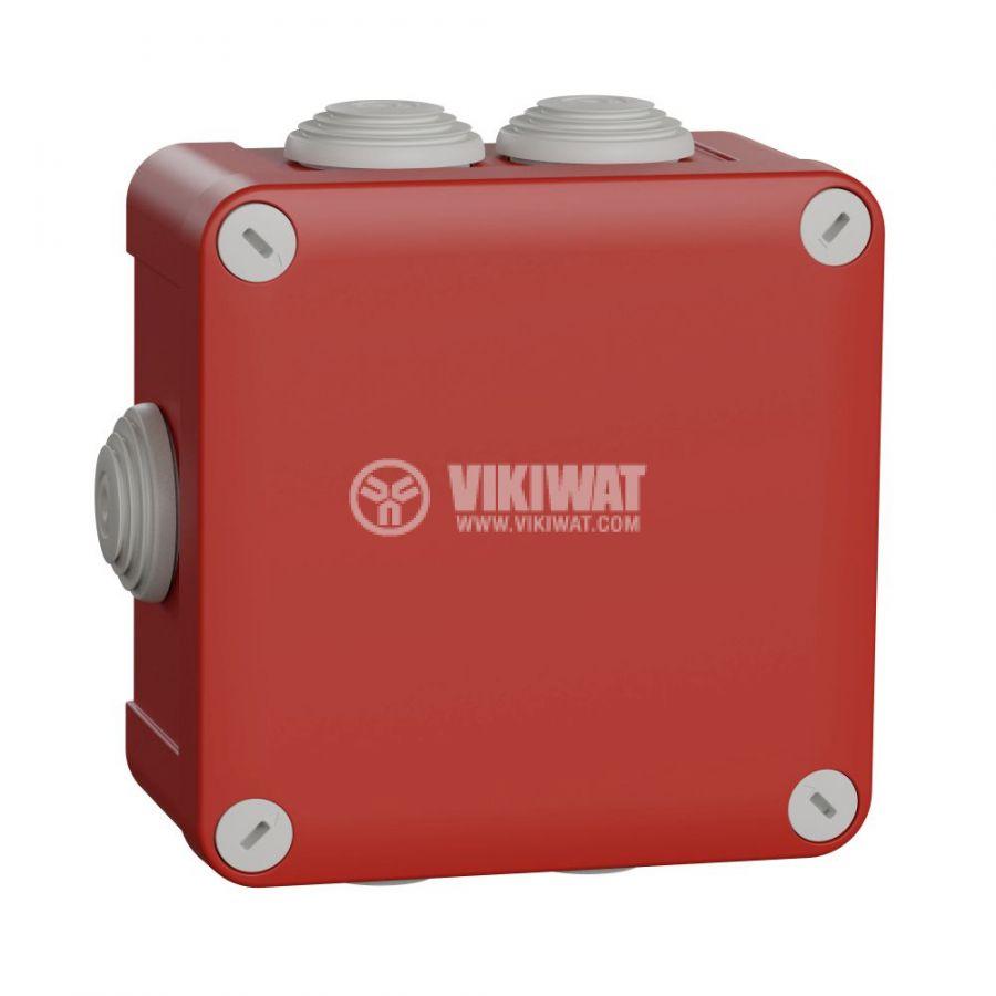 Кутия разклонителна, 118x118x61mm, повърхностен, полипропилен, червен, ENN05165