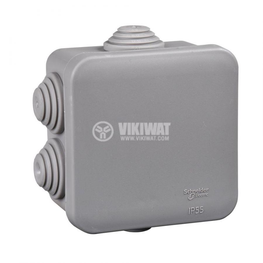 Кутия разклонителна, 95x95x48mm, повърхностен, полипропилен, сив, IMT35090