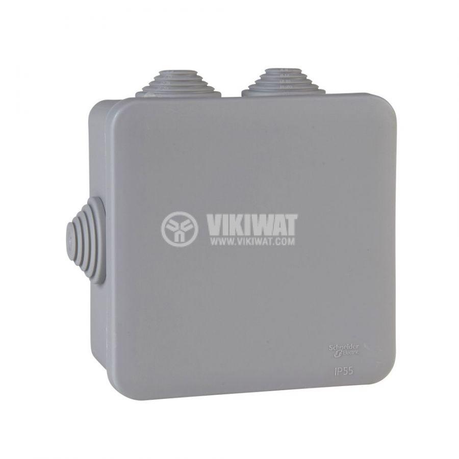 Кутия разклонителна, 130x130x58mm, повърхностен, полипропилен, сив, IMT35091