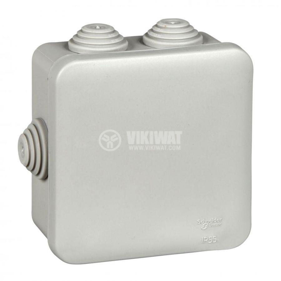 Кутия разклонителна, 110x110x48mm, повърхностен, полипропилен, сив, IMT35092