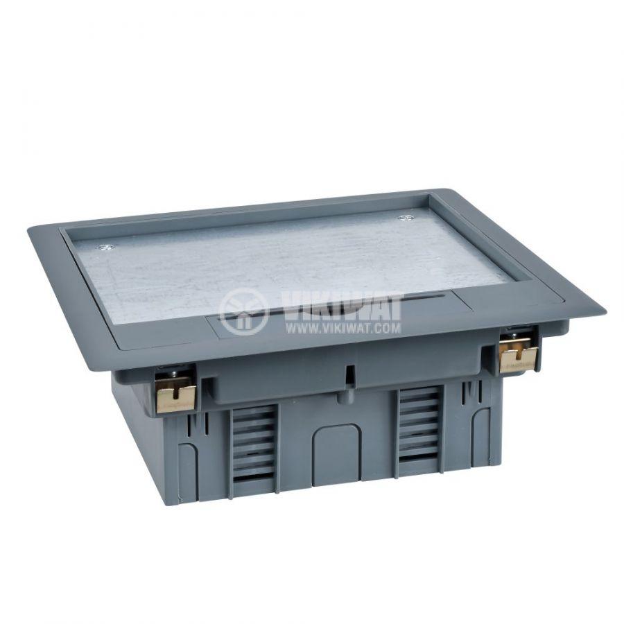 Кутия за под, 199x199x72mm, за вграждане, стомана, сив, ISM50524