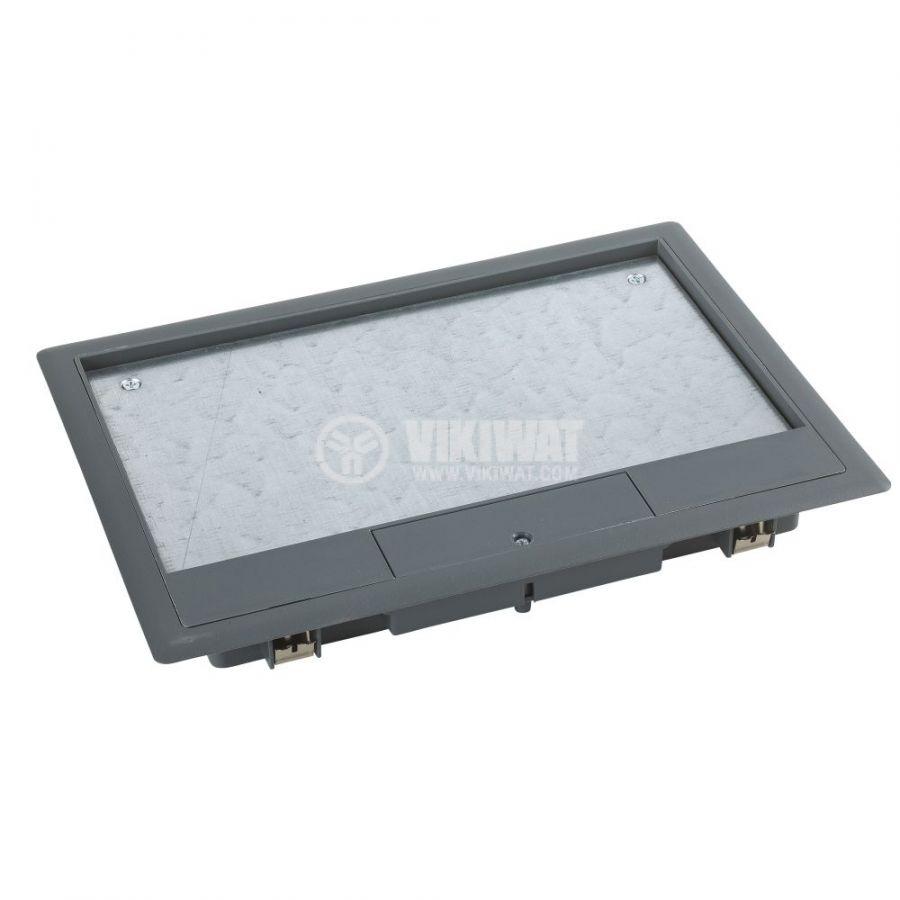 Кутия за под, 276x199x72mm, за вграждане, стомана, сив, ISM50530