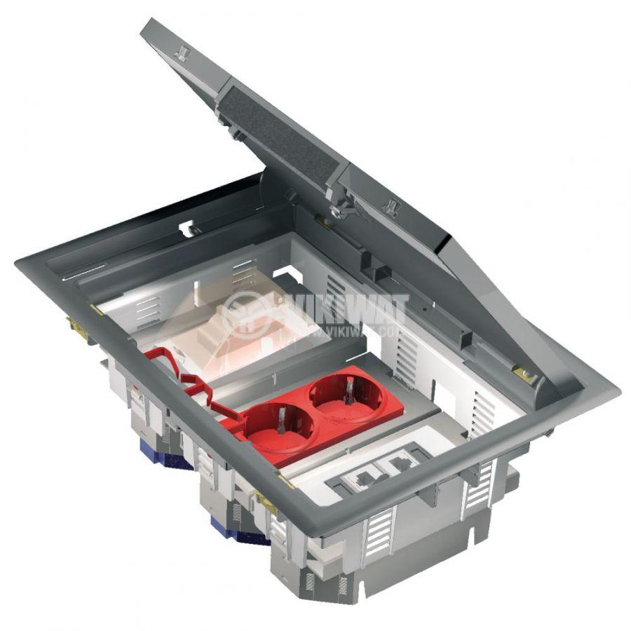 Кутия за под, 276x199x72mm, за вграждане, стомана, сив, ISM50536