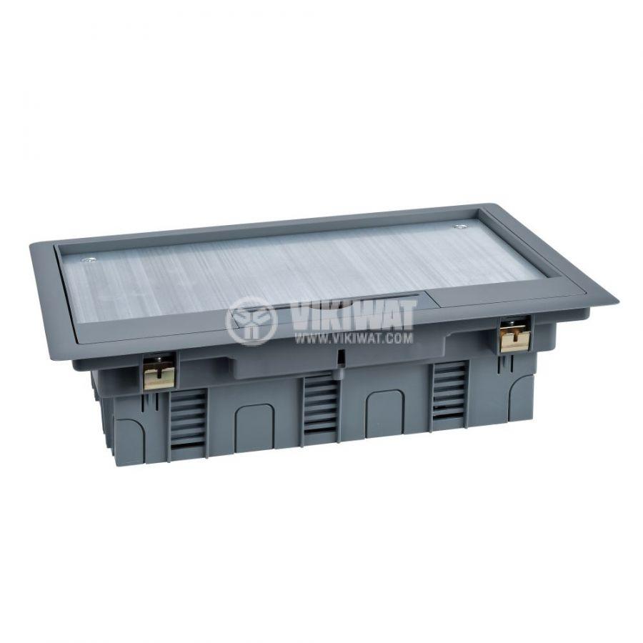 Кутия за под, 276x199x72mm, за вграждане, стомана, сив, ISM50538