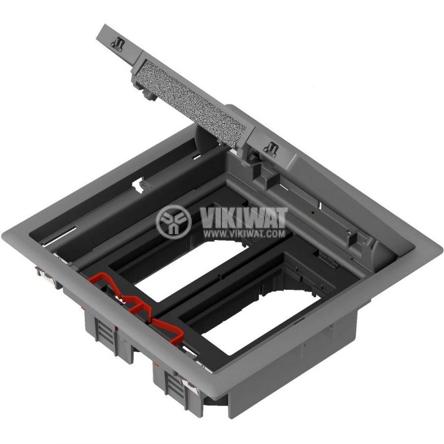 Кутия за под, 199x199x72mm, за вграждане, стомана, сив, ISM50624