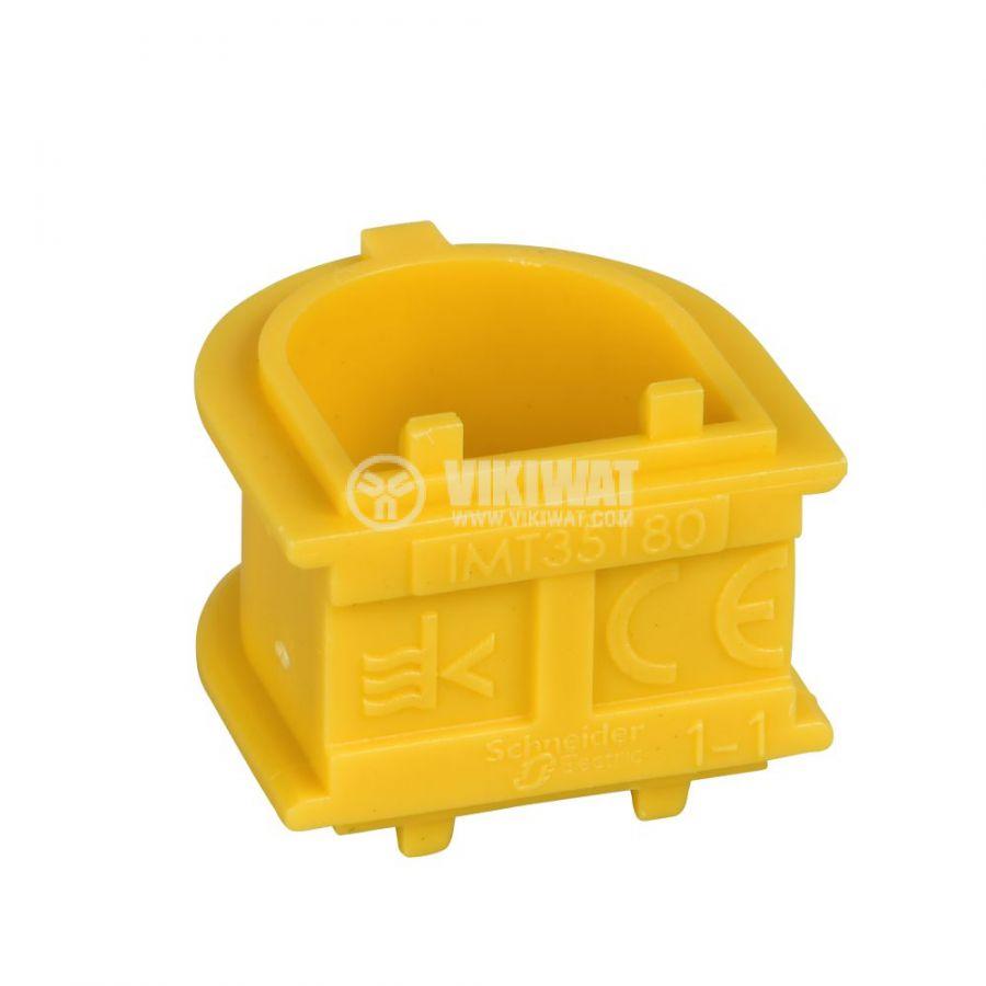 Свързващ елемент, 21x21x17.5mm, за вграждане, полипропилен, жълт, IMT35180