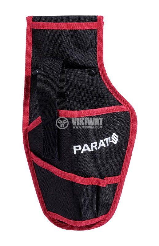 Кобур за винтоверт PARABELT Cordless, за колан, с допълнителни отделения, черен с червен кант - 1