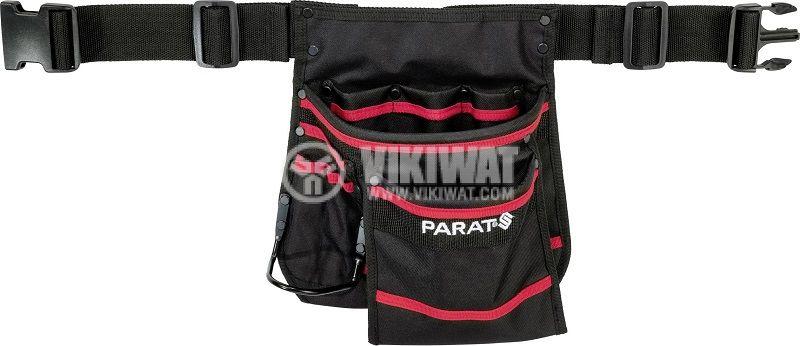 Чанта с колан PARABELT М, 8 джоба, държач за чук, черен с червен кант - 1