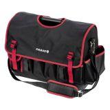 Чанта за рамо BASIC Softbag L, 24 джоба, с метална дръжка, черна с червен кант