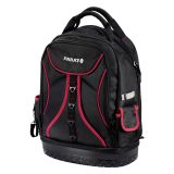 BASIC Back Pack Tool Backpack, with 50 pockets and laptop compartment up to 14 inches, black with red edge