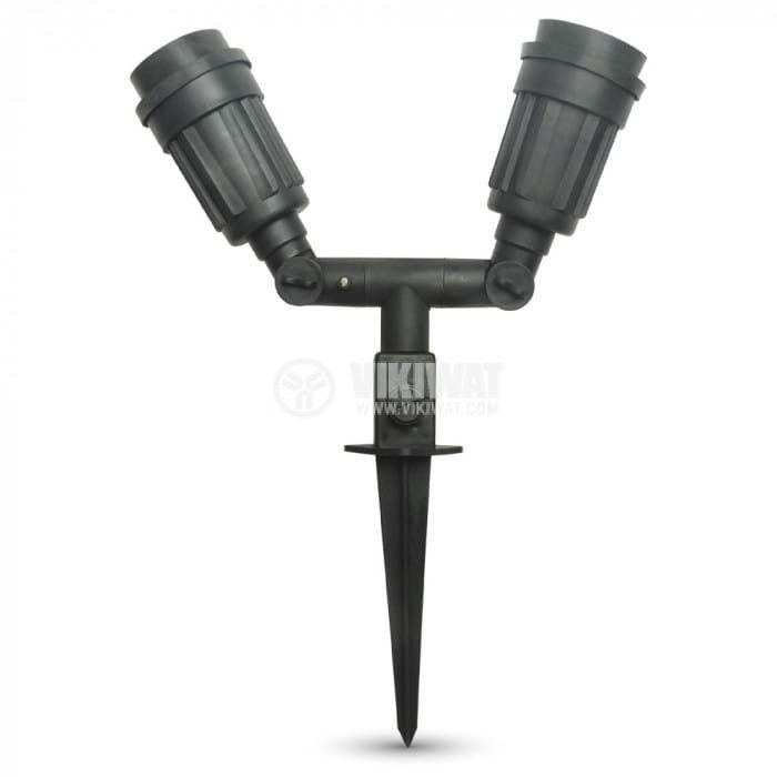 Двойна стойка за градинска лампа V-TAC 7045 E27 IP44