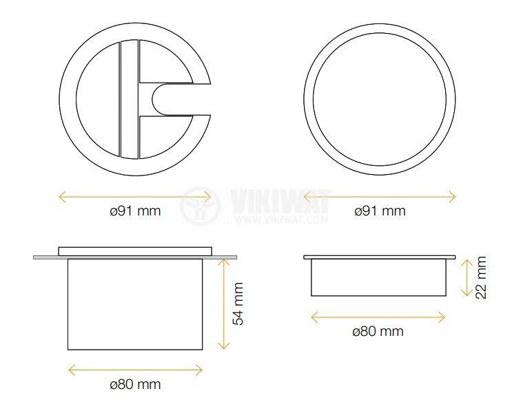 Розетка за кабели с отвор за химикалки, за бюро, ф 80 mm, Aluminium, кръгла - 3