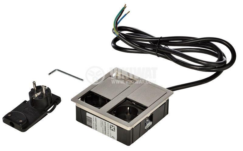 Модул за вграждане VersaHit, 2-ка, 2 m кабел, INOX, Шуко, защита за деца - 2