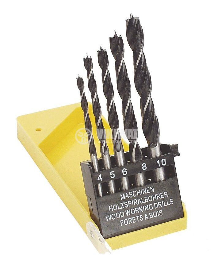 Set of 5 drills, 4~10mm, for wood, MANNESMANN