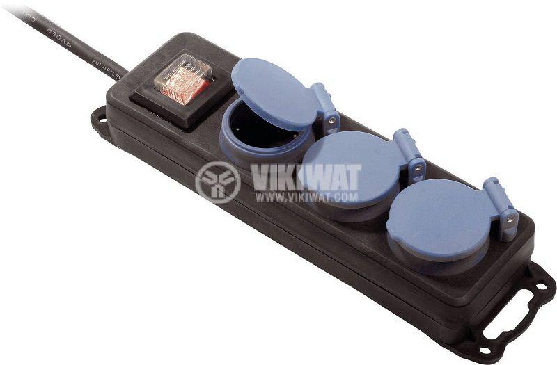 Външен разклонител с капаци + ключ, 3-ка, 1.5m кабел, IP44, черен, AS SCHWABE