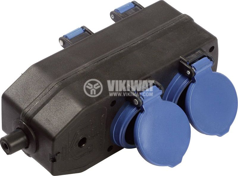 Разклонител без кабел 4-ка, 230VAC, 16A, IP44, със защитни капаци