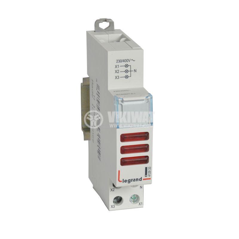LED индикатор 412933, за три фази, червен, 230/400VAC, DIN, Legrand