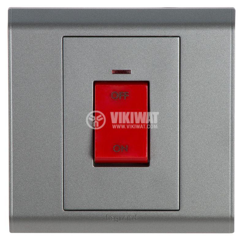 Електрически ключ за бойлер, 45А, 250VAC, за вграждане, светещ, тъмно сив, LEGRAND - 1