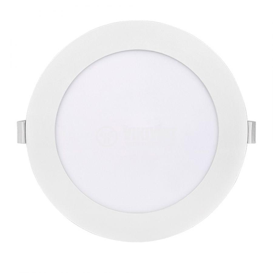 LED панел за вграждане, 15W, кръг, 230VAC, 1080lm, 6500K, студено бял, ф185mm, LPLA11W156