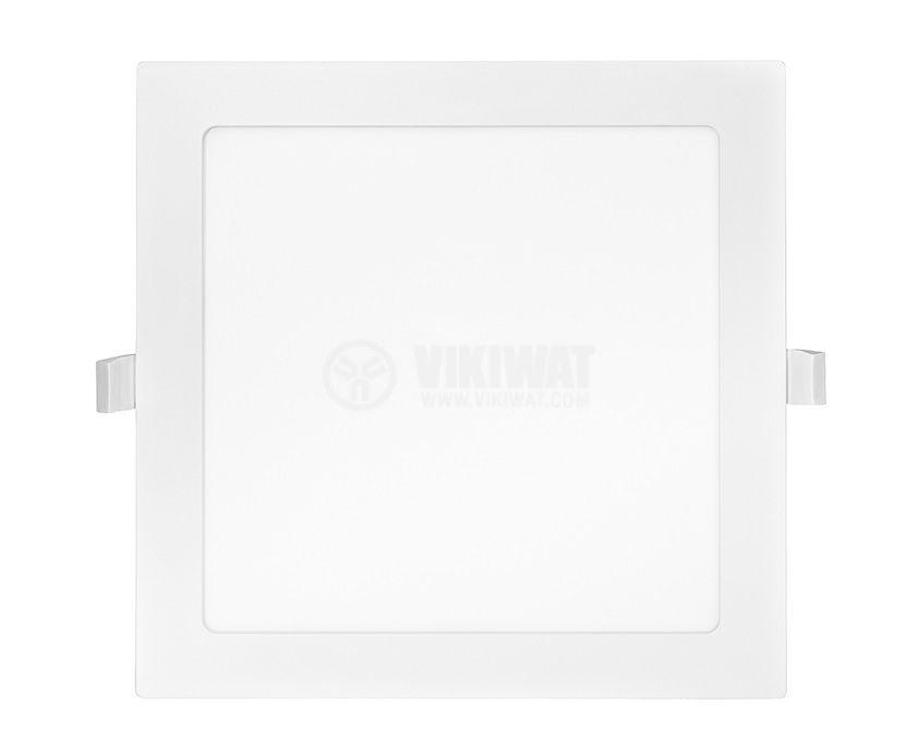 LED панел за вграждане, 18W, квадрат, 230VAC, 1350lm, 3000K, топло бял, 225х225mm - 2