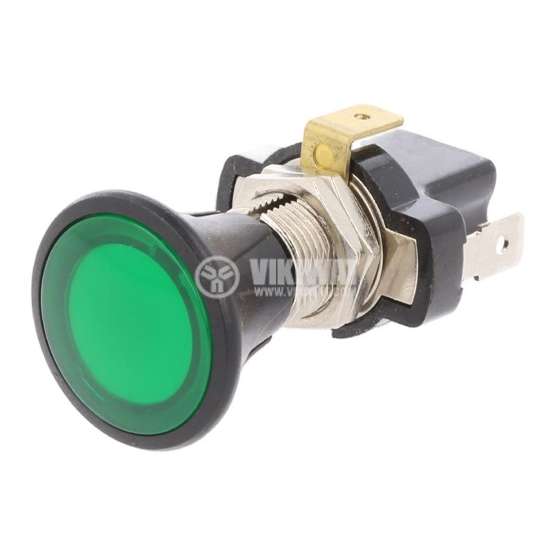Бутонен превключвател, бутон, OFF-ON, 10A/14VDC, SPST, панелен - 1