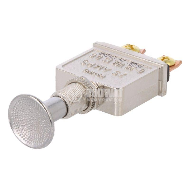 Бутонен превключвател, бутон, OFF-ON, 75A/12VDC, SPST, панелен - 1
