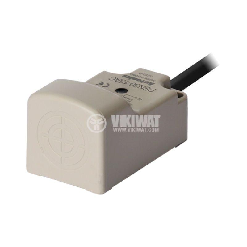 Индуктивен датчик PSN30-15AC, 100~240VAC, NC, 15mm, 30x30x53mm, екраниран - 1