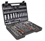 Set with ratchet, screwdriver, inserts, bits and extensions