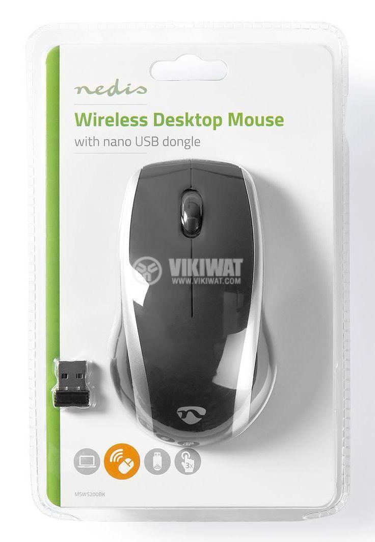 Безжична мишка Nedis MSWS200BK 3 бутона черна/сива - 6