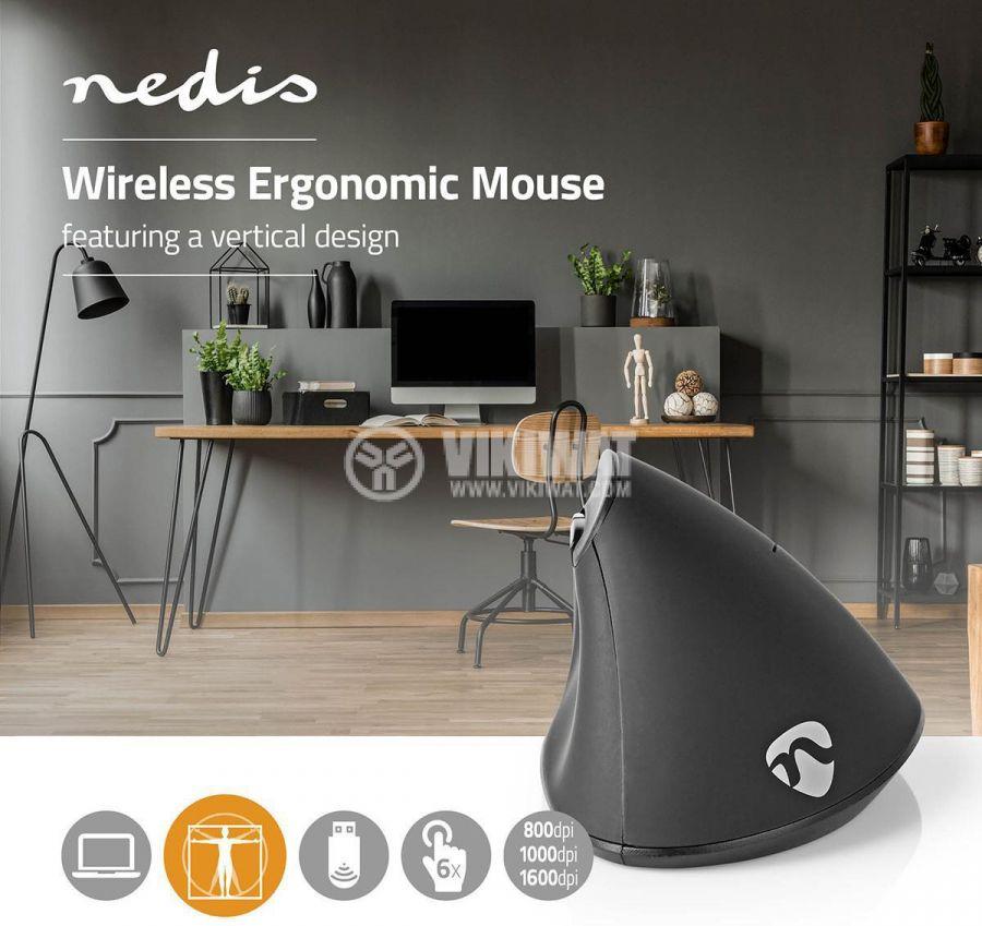Ергономична безжична мишка с 6 бутона ERGOMSWS100BK 800/1000/1600dpi - 9