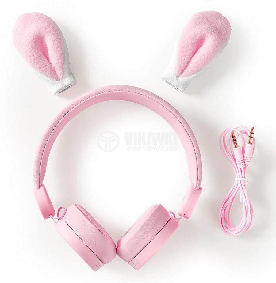 Слушалки с магнитни уши на заек Robby Rabbit, жак 3.5mm, 85dB, 1.2m, розови, HPWD4000PK, NEDIS - 8
