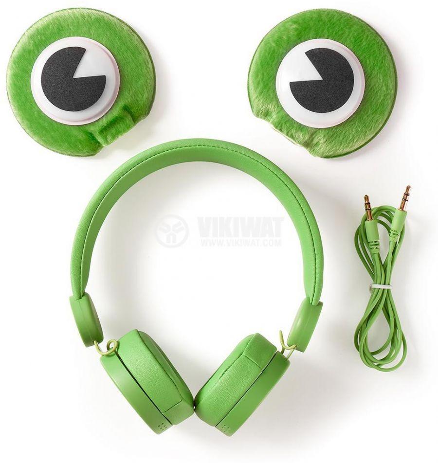 Слушалки с магнитни уши и очи на жаба Freddy Frog, жак 3.5mm, 85dB, 1.2m, зелени, HPWD4000GN, NEDIS - 9