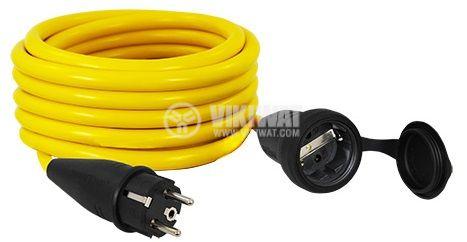 Удължител 5m 3x1.5mm2 IP44 влагозащитен жълт COMMEL