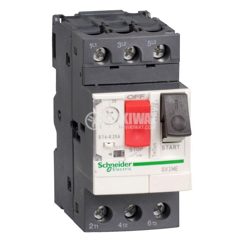 Моторна термично-токова защита, GV2ME01AP, трифазна, 0.1 - 0.16A