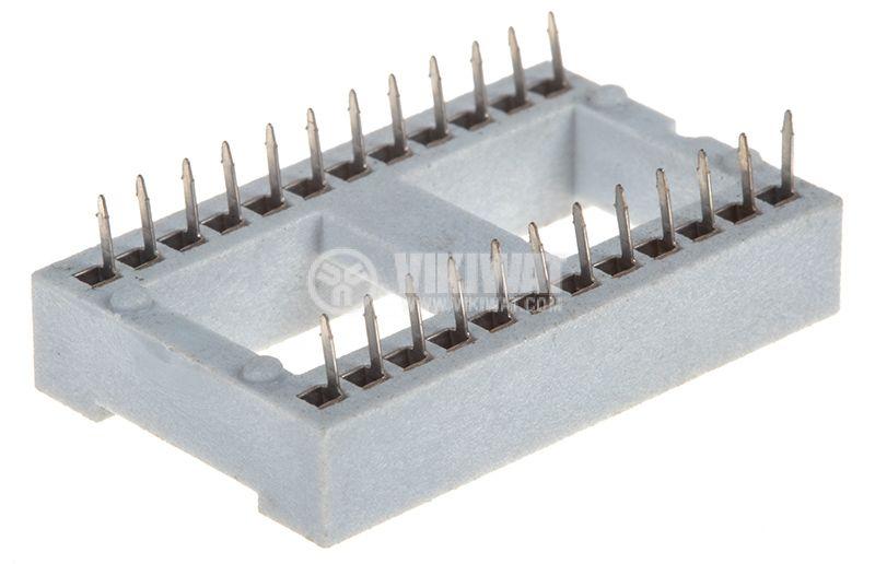 Цокъл DIP, 24pin, растер 2.54mm, за интегрални схеми   - 2