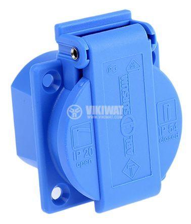 Електрически контакт с капак (шуко) единичен 16A 250V IP54 син панелен - 2
