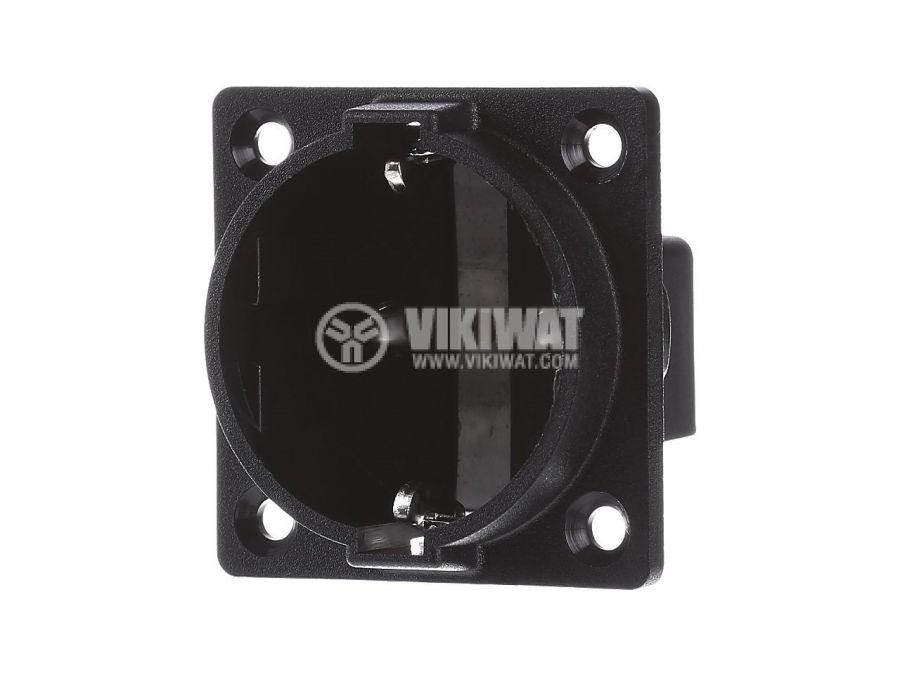 Електрически контакт (шуко) единичен 16A 250V черен за вграждане