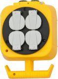Разклонител 4-ка с верига за закачане, 5m кабел, жълт/черен, Brennenstuhl 1151760
