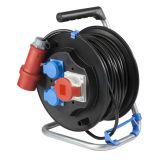Extension cord reel CEE 30m, 3-pin, 5x1.5mm2, with thermal protection, black, IP20, AS Schwabe, 10153